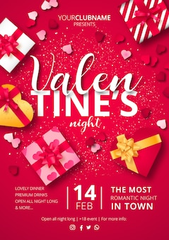 Valentine's night poster with gifts ready to print Free Vector