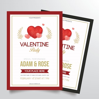 Valentine's party flyer template vector