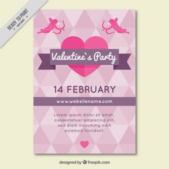 Valentine's party poster with geometric shapes and cupid characters