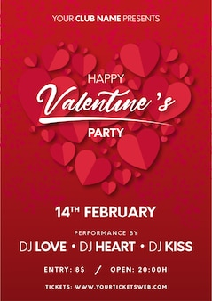 Valentine's party poster with hearts ready to print