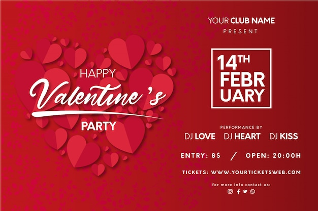 Valentine's party poster with hearts