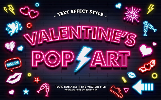 Valentine's pop art text effects style