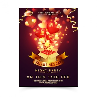Valentine's poster with box full of hearts