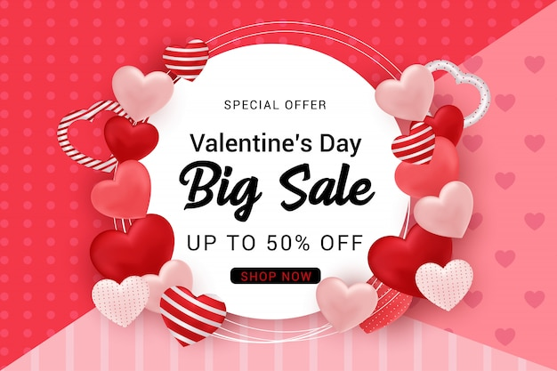 Valentine's sale banner background .  illustration
