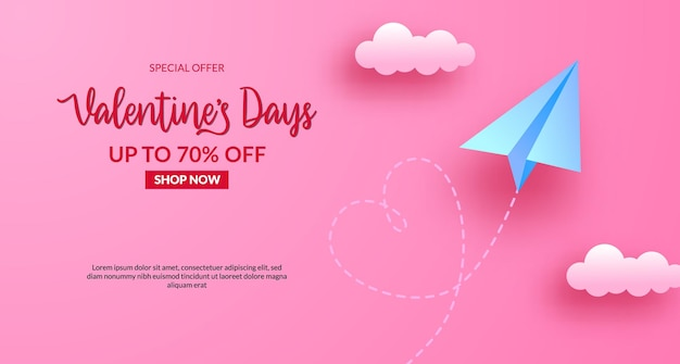 Валентинка продажи баннер с бумажным самолетиком летать в небе. иллюстрация стиля вырезки бумаги. розовый пастельный фон