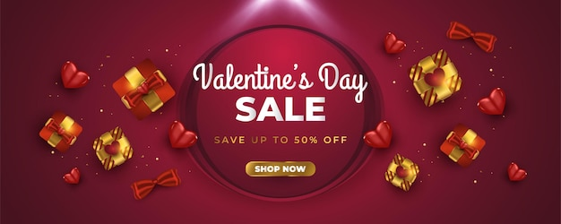 Valentine's sale banner with realistic gift box, red heart, and sparkling gold confetti