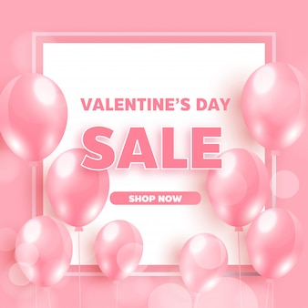 Valentine's sale  with pink balloons. realistic vector design for a shop and sale banners.