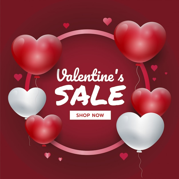 Valentine's sales promotion banner with red and white 3d hearts for website banner
