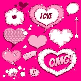 Valentine's set of speech bubbles comic