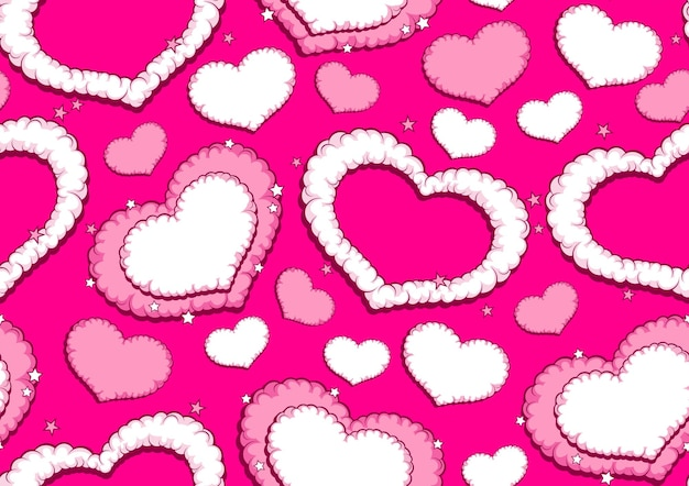 Valentine's speech bubbles comic seamless pattern, comic art style.