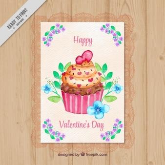 バレンタイン水彩カップケーキカード
