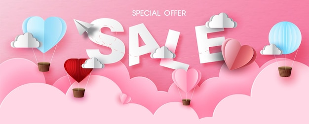 Valentine's wording sale with balloon on pink layers could and pink paper pattern background. valentine greeting card in sale banner paper cut style and vector design.