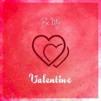Красный фон акварель, valentine's день