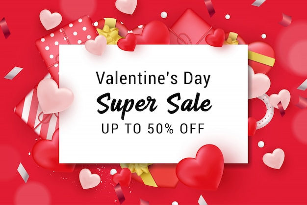 Valentine sale banner background