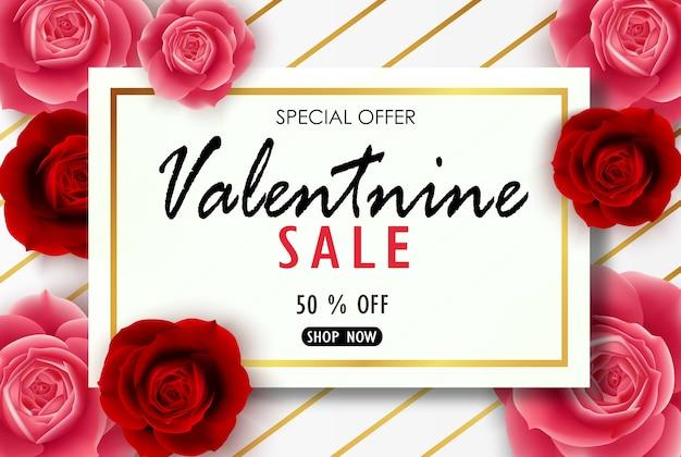 Валентина баннер с реалистичной красной и розовой розой