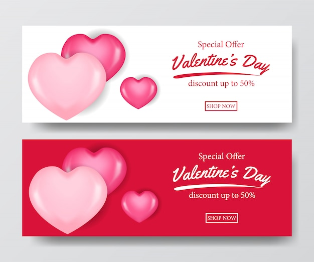 Valentine sale offer banner with 3d hearth balloon