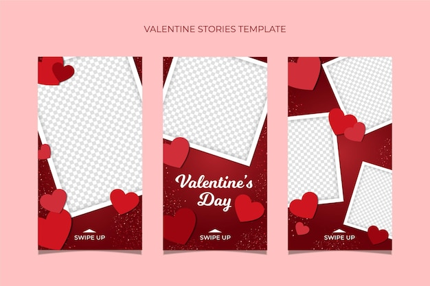 발렌타인 데이 판매 이야기 템플릿 컬렉션.