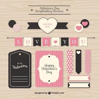 バレンタインスクラップブッキング要素