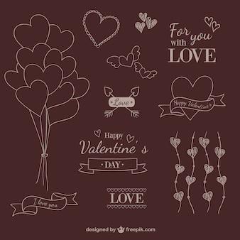 Valentine scribble ornaments