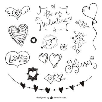 Valentine scribbles pack