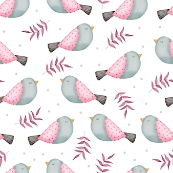 Valentine seamless pattern with birds