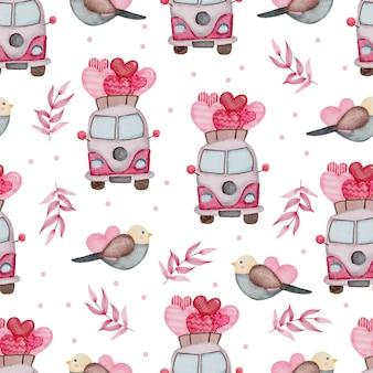 Valentine seamless pattern with bus, birds.