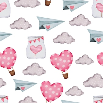雲、気球とバレンタインのシームレスなパターン。