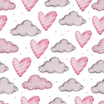 Valentine seamless pattern with heart, cloud.