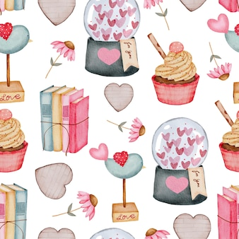 Valentine seamless pattern with heart, cupcake books