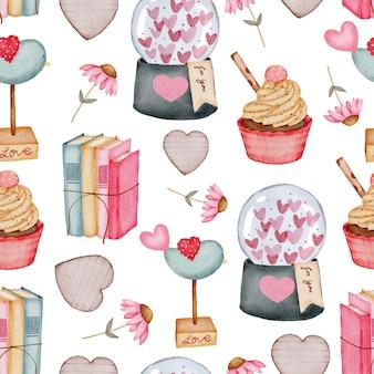 Modello senza cuciture di san valentino con cuore, libri di cupcake