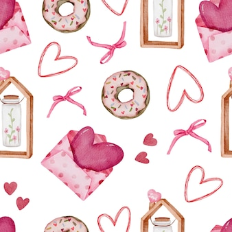 Valentine seamless pattern with heart, donut ribbons and more.