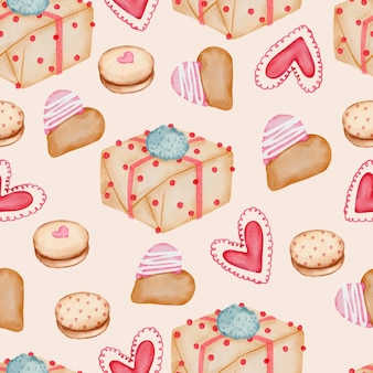 Valentine seamless pattern with heart, gifts, cupcakes and more.