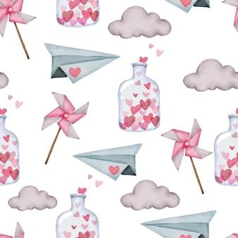 Modello senza cuciture di san valentino con aeroplano di carta, nuvola e bottiglia.