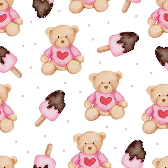 Valentine seamless pattern with teddy