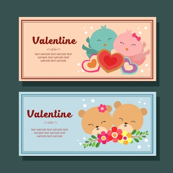 Valentine season decoration horizontal banner couple bird