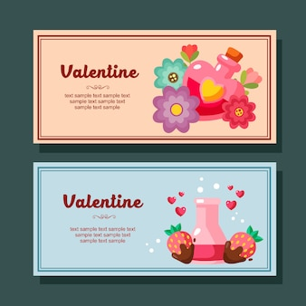 Valentine season decoration horizontal banner love element