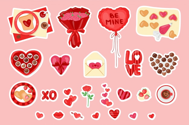 Valentine  set with sweets, gift box, flowers and hearts. cartoon cute collection of love stickers