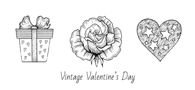 Valentine sketch set.