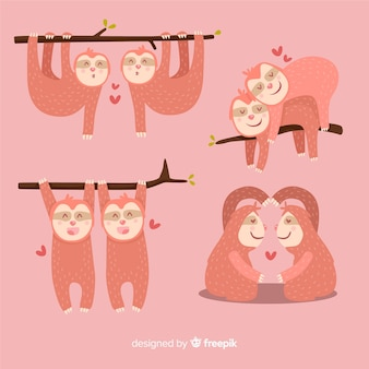 Valentine sloth couple collection