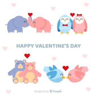 Valentine smiling animal couple collection