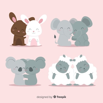Valentine smiling animal couple pack