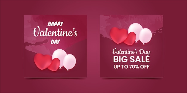 Valentine social media post banner sale special discount