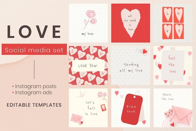 Set di modelli di social media di san valentino