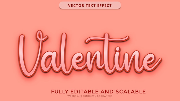 Valentine text effect editable eps file