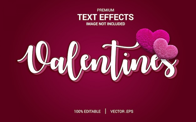 Valentine text effect vectors, set elegant pink purple abstract valentine text effect