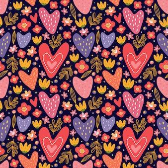 バレンタインのテーマのシームレスなパターン。