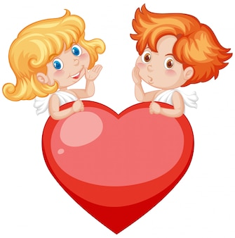 Валентина тема с амурами и красным сердцем