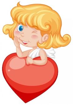 Валентина тема с милым купидоном и красным сердцем