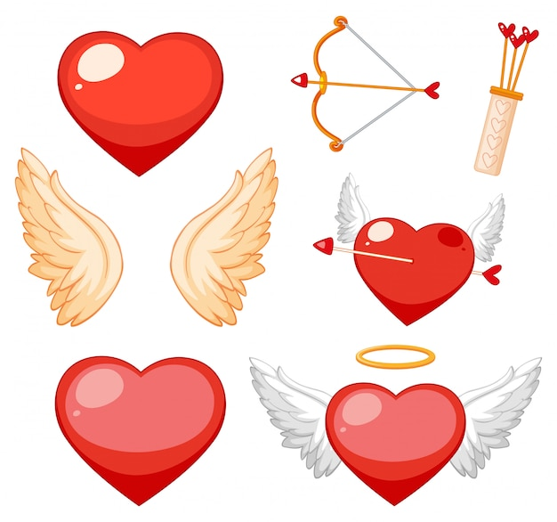 Valentine theme with hearts and wings