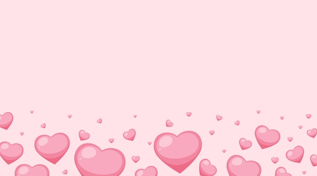 Valentine theme with pink hearts on pink background